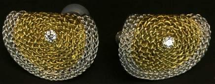 Earrings 14 K White Gold Diamond