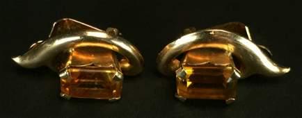 Earrings, 18 K Yellow Gold, Citrine
