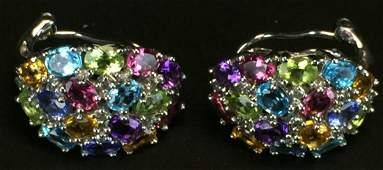 Earrings, 14 K White Gold, Diamonds