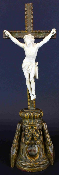 Crucifix Carved Ivory, Wood Mounting., C. 1890