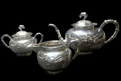 (3) Pc. Silver, Tea, Creamer, Sugar, Meiji
