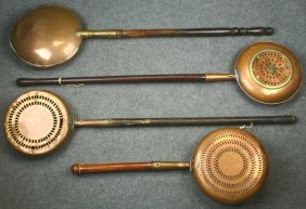 (4) Copper Bed Warmers