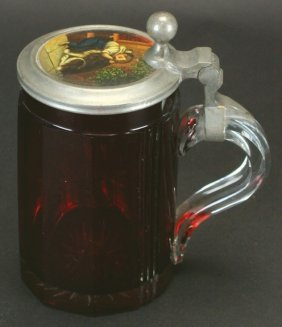 Glass Tankard With Pewter Lid, Boy And Dog