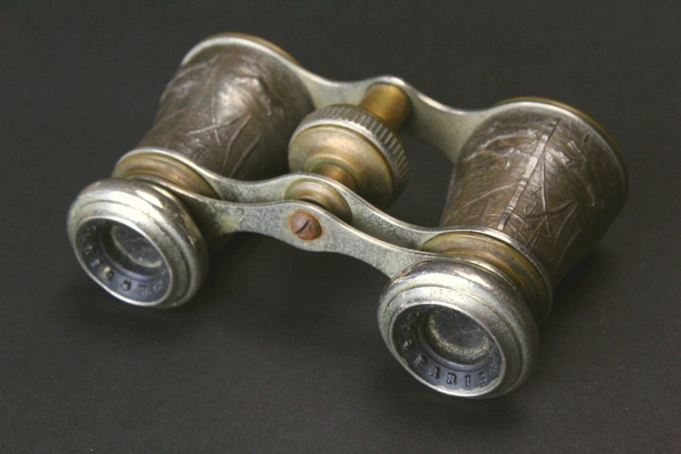 Brass Opera Glasses, Hunting Scene, Chevalier