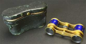 Brass Blue Enamel Four Leaf Clovers and Case
