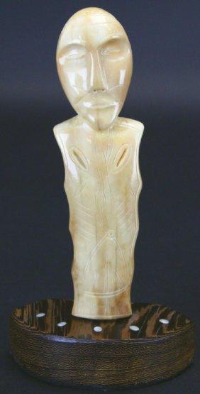 Carved Walrus Ivory Eskimo Figure