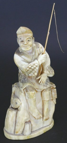 Ivory Carving, Fisherman On Rock, Signed