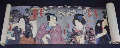 Sroll 24 Japanese Wood Block Prints 1850s 20