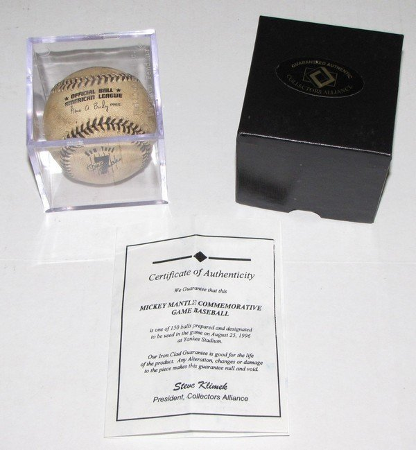 1001: 8/25/1996 Mickey Mantle Day Game Used Ball w/COA