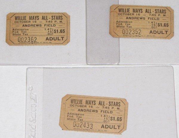 1010: 3 Willie Mays All-Stars Ticket Stub Andrews Field