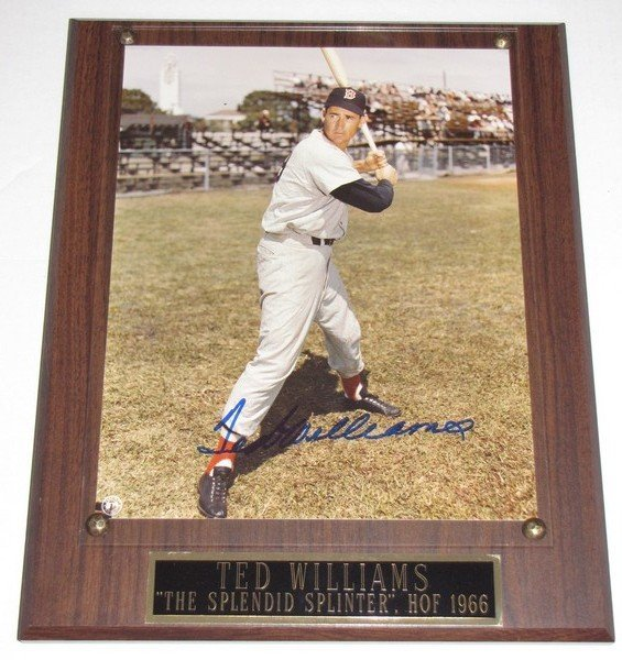 1018: Signed Ted Williams 8x10 Photo & Plaque