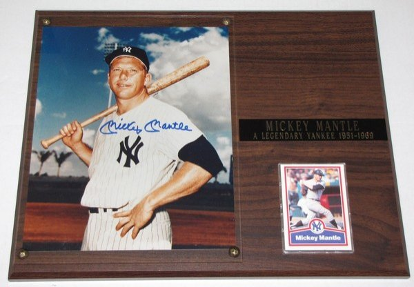 1019: Signed Mickey Mantle 8x10 Photo & Plaque
