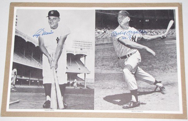 1020: Dual Signed Roger Maris Mickey Mantle B&W Picture