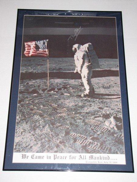 1093: Signed Buzz Aldrin 1969 Apollo 11 Moon Poster COA