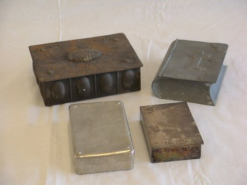 1002: 4 in lot. 1. Metal decorative hinged boxes