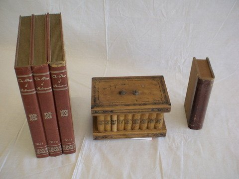 1011: Lot of 3: dovetailed box shaped like a book