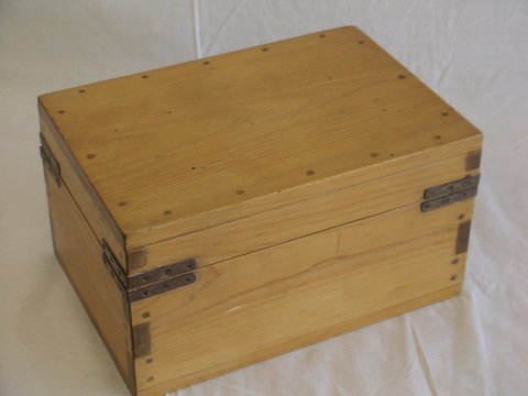 1012: Nice handmade box with drawer inside, top lifts