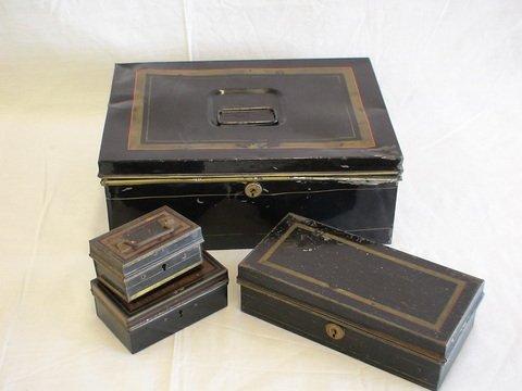 1013: Lot of 4: Vintage black tin boxes.