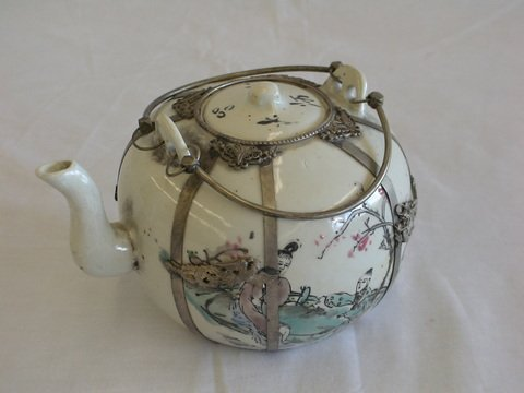 1021: Asian teapot with lid intact, over 150 years old.