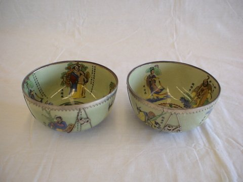 1024: Set of two signed bowls from Shanghai.