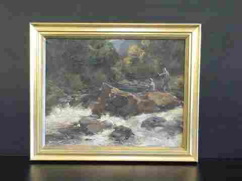 Oil on canvas, Two men fishing in the river