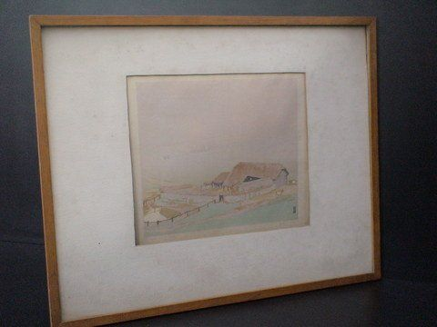 """Framed, matted print of """"The Field Barn"""", Numbere"""