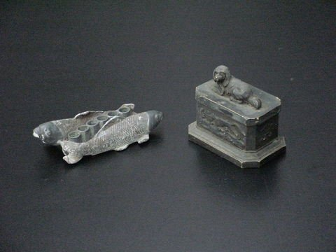 3004: Lot of 2: Possible tobacco holder, top has a dog