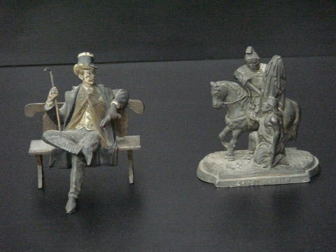 3005: Lot of 2: Smartly dressed man with top hat, cane,