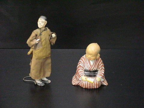 3007: Set of 2: Asian man in traditional dress and bobb
