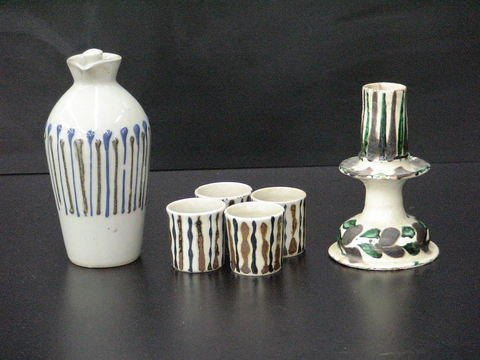3009: Lot of 3: Tall brown and blue striped vessel with