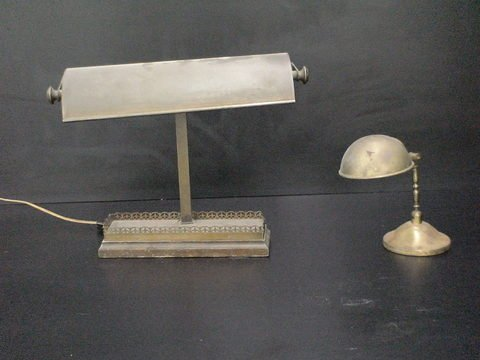 3011: Set of 2 brass lamps: Two vintage desk lamps, one