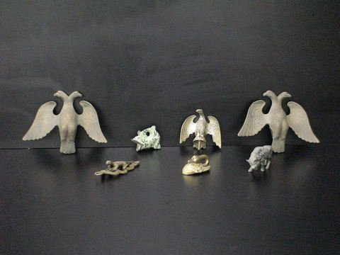 3014: Lot of 6 metal animals: Pair of heavy metal two-h