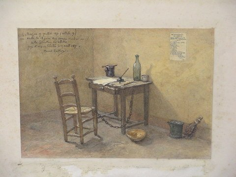 3209: Drawing and watercolor of prisoners cell
