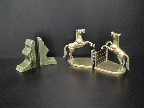 4001: Set of 2 bookends: A brass pair of two rearing ho