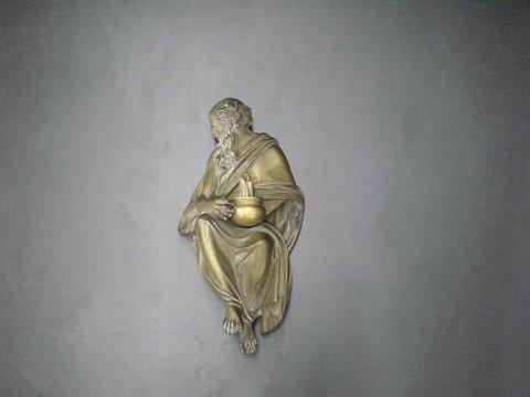 4010: Heavy brass fireplace mantel piece, possibly the