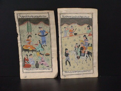 4013: Lot of 2 Persian water color drawings: Two colorf