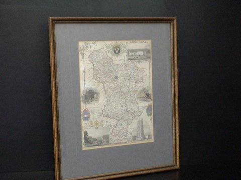 4014: Matted, framed map of Derbyshire, England, with a