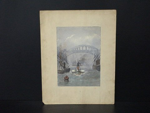 4016: Matted watercolor of a small boat in the center w