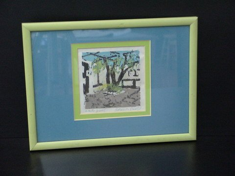 4019: Double matted green and blue, framed artist's pro