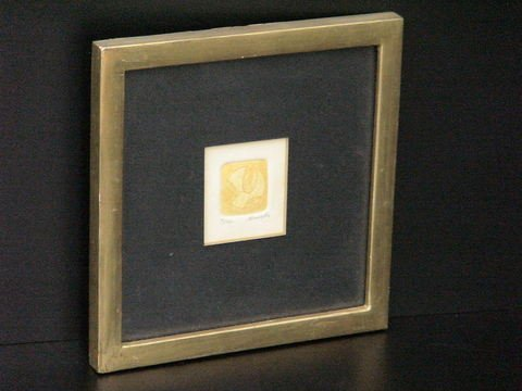 4020: Matted, framed color pencil embossed drawing, num