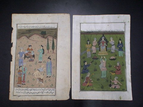 4023: Lot of 2 Persian water color drawings: Two colorf
