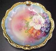 4271: Hand Painted Floral Bavaria Plate w/Heavy Gold