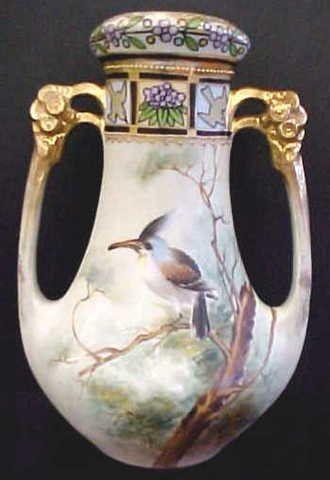 Hand Painted Nippon Open Dbl. Handle Vase w/Bird