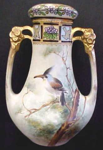 4281: Hand Painted Nippon Open Dbl. Handle Vase w/Bird