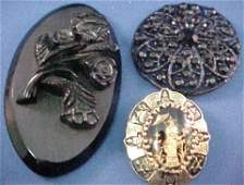 4298 3 VINTAGE BROOCHES  Victorian Asian Bakelite