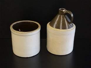 Stoneware Crock & Jug Brown Top W/Handle