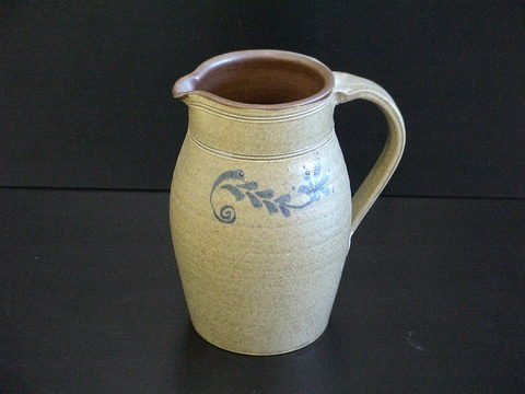 1002: Stoneware Pitcher Blue Decorated Oatmeal Glaze