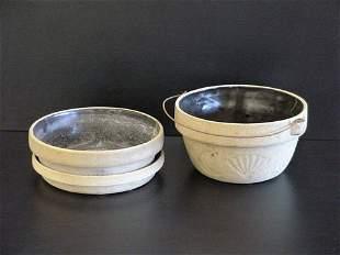 2 Unglazed Stoneware Planters Brown Inside