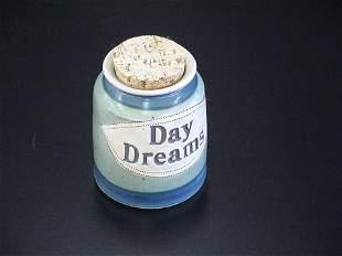"Blue & Green Glaze Stoneware Bank ""Day Dreams"""