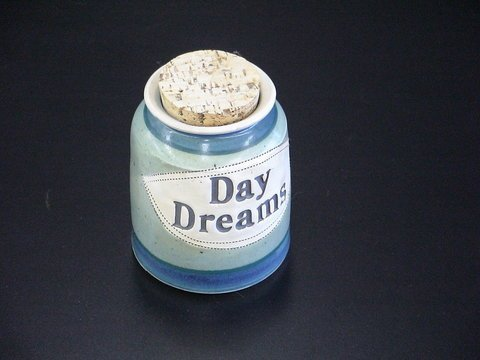 "1009: Blue & Green Glaze Stoneware Bank ""Day Dreams"""